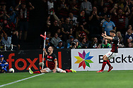 SYDNEY, AUSTRALIA - OCTOBER 26: Western Sydney Wanderers forward Mitchell Duke (7) celebrates his goal during the round 3 A-League soccer match between Western Sydney Wanderers FC and Sydney FC on October 26, 2019 at Bankwest Stadium in Sydney, Australia. (Photo by Speed Media/Icon Sportswire)