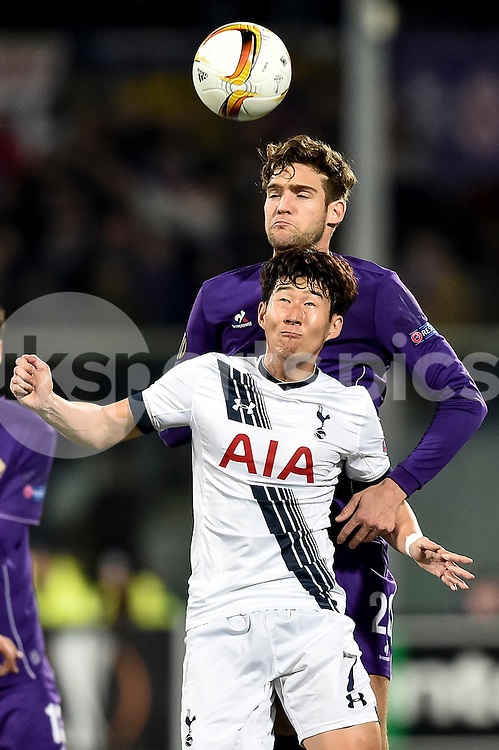 CHELSEA SHOWS INTEREST ON MARCOS ALONSO OF FIORENTINA.<br /> <br /> Son Heung-Min of Tottenham is challenged by Marcos Alonso of Fiorentina during the UEFA Europa League match between Fiorentina and Tottenham Hotspur at Stadio Artemio Franchi, Florence, Italy on 18 February 2016. Photo by Giuseppe Maffia.