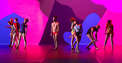 © Licensed to London News Pictures. 10/11/2015. London, UK. Pictured: L'Apres midi d'un faune with Jiri Bartovanec as Faune (centre). Dress rehearsal of Berlin-based dance troupe Sasha Waltz & Guests performing the UK premiere of Sacre, a triple bill, at Sadler's Wells Theatre from 11 to 13 November 2015. Photo credit: Bettina Strenske/LNP