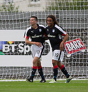 Dundee&rsquo;s Cammy Kerr is congratualted by new boy Yordi Teijsse after opening the scoring - Dumbarton v Dundee, pre-season friendly at the Cheaper Insurance Direct Stadium, Dumbarton<br /> <br />  - &copy; David Young - www.davidyoungphoto.co.uk - email: davidyoungphoto@gmail.com