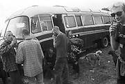 Skinheads poster next to the van, Exodus Free Festival, Luton, 1997.