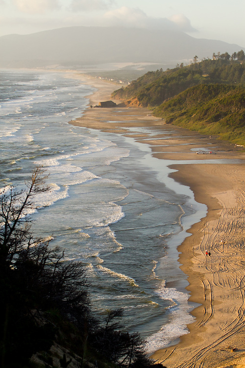 Looking North from Kiwanda Point dune. The Oregon Coast, a classic, beautiful road trip. Heading West from Portland to Tillamook, with a detour to the fishing village of Garibaldi, through Cape Lookout State Park and on to our final destination of Pacific City.