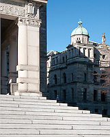 The neo-baroque style of the BC parliament buildings in Victoria, British Columbia features beautiful arches, turrets and sculptures on the exterior. Designed by Francis Rattenbury, the buildings preside over the Inner Harbour of Victoria, and while housing the Legislative Assembly of BC also acts as a gathering place for the city's residents.