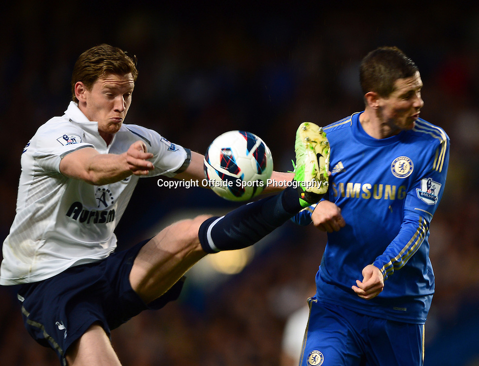8th May 2013 - Barclays Premier League - Chelsea v Tottenham Hotspur  - Jan Vertonghen of Tottenham Hotspur in action with Fernando Torres of Chelsea - Photo: Marc Atkins / Offside.