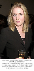 LADY EMILY COMPTON at a party in London on 27th March 2001.OMN 85