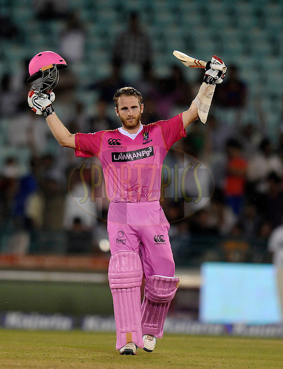 Kane Williamson of Northern Knights acknowledges teammates after scoring a century during match 3 of the Oppo Champions League Twenty20 between the Cape Cobras and the Northern Knights held at the Chhattisgarh International Cricket Stadium, Raipur, India on the 19th September 2014<br /> <br /> Photo by:  Pal Pillai / Sportzpics/ CLT20<br /> <br /> <br /> Image use is subject to the terms and conditions as laid out by the BCCI/ CLT20.  The terms and conditions can be downloaded here:<br /> <br /> http://sportzpics.photoshelter.com/gallery/CLT20-Image-Terms-and-Conditions-2014/G0000IfNJn535VPU/C0000QhhKadWcjYs