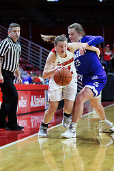NORMAL, IL - January 06: Paige Saylor tries to get around Maddy Dean during a college women's basketball game between the ISU Redbirds and the Drake Bulldogs on January 06 2019 at Redbird Arena in Normal, IL. (Photo by Alan Look)