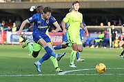 Jake Reeves of AFC Wimbledon strikes on target during the Sky Bet League 2 match between AFC Wimbledon and Hartlepool United at the Cherry Red Records Stadium, Kingston, England on 31 October 2015. Photo by Stuart Butcher.