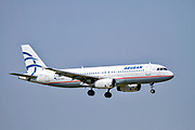 Aegean Airlines Airbus A320-232 SX-DVV comming into land at Malpensa (MXP / LIMC), Milan, Italy