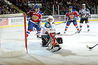 KELOWNA, CANADA, FEBRUARY 15: Adam Brown #1 of the Kelowna Rockets makes a save against the Edmonton Oil Kings at the Kelowna Rockets on February 15, 2012 at Prospera Place in Kelowna, British Columbia, Canada (Photo by Marissa Baecker/Shoot the Breeze) *** Local Caption ***