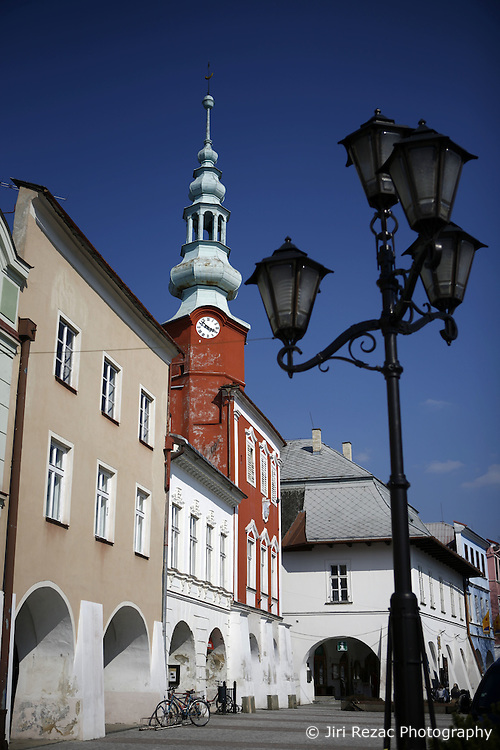 CZECH REPUBLIC VYSOCINA SVITAVY 18APR12 - View of old city hall in Svitavy main square. The façade of the building has the towns emblem (the head of a male goat between two towers), on top of the tower there is a Turkish crescent.....jre/Photo by Jiri Rezac....© Jiri Rezac 2012