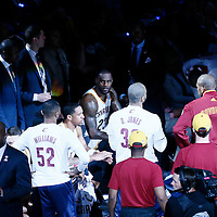 08 June 2016: Cleveland Cavaliers forward LeBron James (23) is seen during a time out during the Cleveland Cavaliers 120-90 victory over the Golden State Warriors, during Game Three of the 2016 NBA Finals at the Quicken Loans Arena, Cleveland, Ohio, USA.