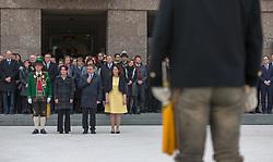 28.03.2018, Eduard Wallnöfer Platz, Innsbruck, AUT, Angelobung der neuen Tiroler Landesregierung, Landesüblicher Empfang, im Bild v.l.: Landes-Schützenkommandant Major Fritz Tiefenthaler, neue Landtagspräsidentin Sonja Ledl-Rossmann (ÖVP), Landeshauptmann-Stellvertreterin Ingrid Felipe (GRÜNE) und Landeshauptmann Günther Platter (ÖVP) // during a ceremonial act after the inauguration of the new tyrolian federal state government in Innsbruck, Austria on 2018/03/28. EXPA Pictures © 2018, PhotoCredit: EXPA/ Jakob Gruber