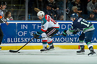 KELOWNA, CANADA - JANUARY 5: Donovan Neuls #19 of the Seattle Thunderbirds stick checks Ted Brennan #10 of the Kelowna Rockets as he skates with the puck on January 5, 2017 at Prospera Place in Kelowna, British Columbia, Canada.  (Photo by Marissa Baecker/Shoot the Breeze)  *** Local Caption ***