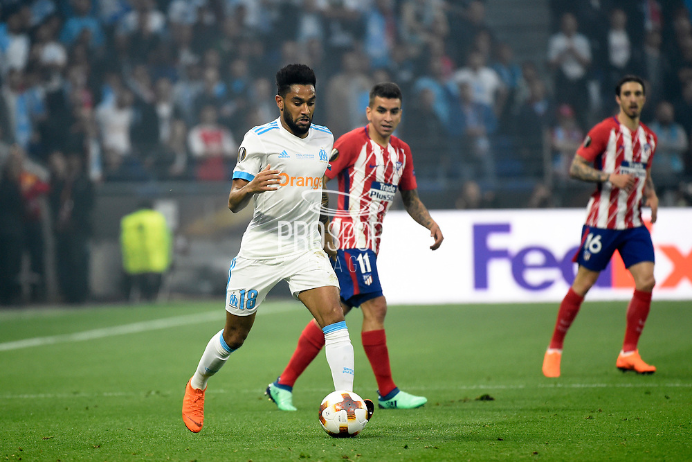 Defender Jordan Amavi of Olympique de Marseille during the UEFA Europa League, Final football match between Olympique de Marseille and Atletico de Madrid on May 16, 2018 at Groupama Stadium in Decines-Charpieu near Lyon, France - Photo Jean-Marie Hervio / ProSportsImages / DPPI