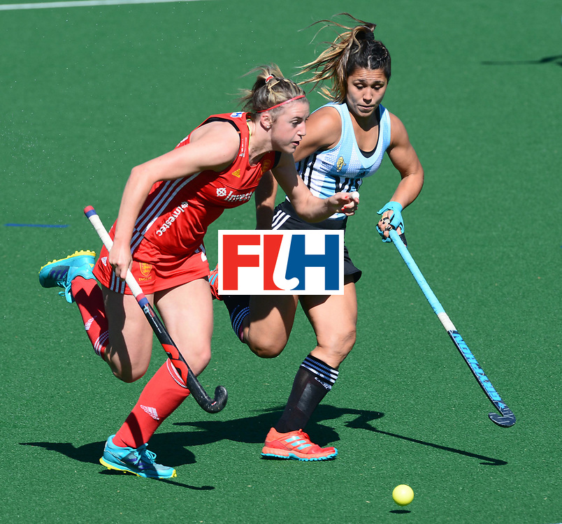 JOHANNESBURG, SOUTH AFRICA - JULY 23: Lily Owsley of England and Maria Granatto of Argentina during day 9 of the FIH Hockey World League Women's Semi Finals 3rd-4th place match between England and Argentina at Wits University on July 23, 2017 in Johannesburg, South Africa. (Photo by Getty Images/Getty Images)