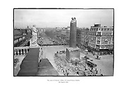 The ruins of Nelson's Pillar seen from the roof of G.P.O., O'Connell Street, Dublin.<br /> <br /> 8th March 1966<br /> 08/04/1966