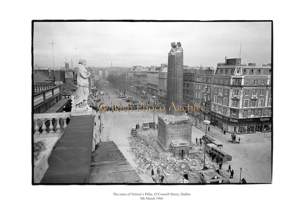 The ruins of Nelson's Pillar seen from the roof of G.P.O., O'Connell Street, Dublin.<br />