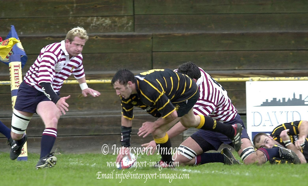 04/05/2002.Sport - Rugby Union.Tetley's County Championship 1 st Rd.Surrey vs Cornwall.Joe Bearman, touch's down for his second half try....[Mandatory Credit, Peter Spurier/ Intersport Images].[Mandatory Credit, Peter Spurier/ Intersport Images].