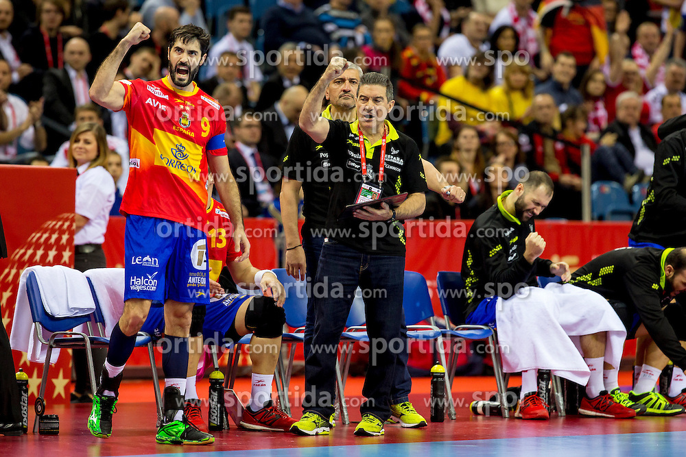 31.01.2016, Tauron Arena, Krakau, POL, EHF Euro 2016, Deutschland vs Spanien, Finale, im Bild Manuel Cadenas Montanes (Trainer) und Raul Entrerrios (Nr 9, FC Barcelona) freuen sich // during the 2016 EHF Euro final match between Germany and Spain at the Tauron Arena in Krakau, Poland on 2016/01/31. EXPA Pictures &copy; 2016, PhotoCredit: EXPA/ Eibner-Pressefoto/ Koenig<br /> <br /> *****ATTENTION - OUT of GER*****