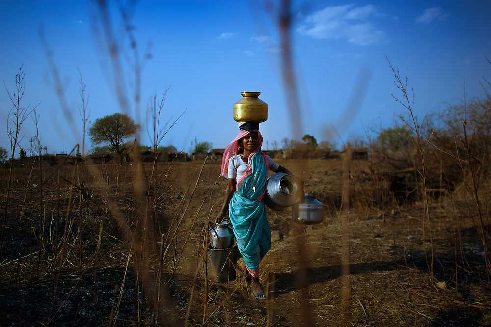 Women in India often walk for miles a day fetching their daily water, the water is often contaminated with flouride and ferterlizers and isnt fit for human consumption.