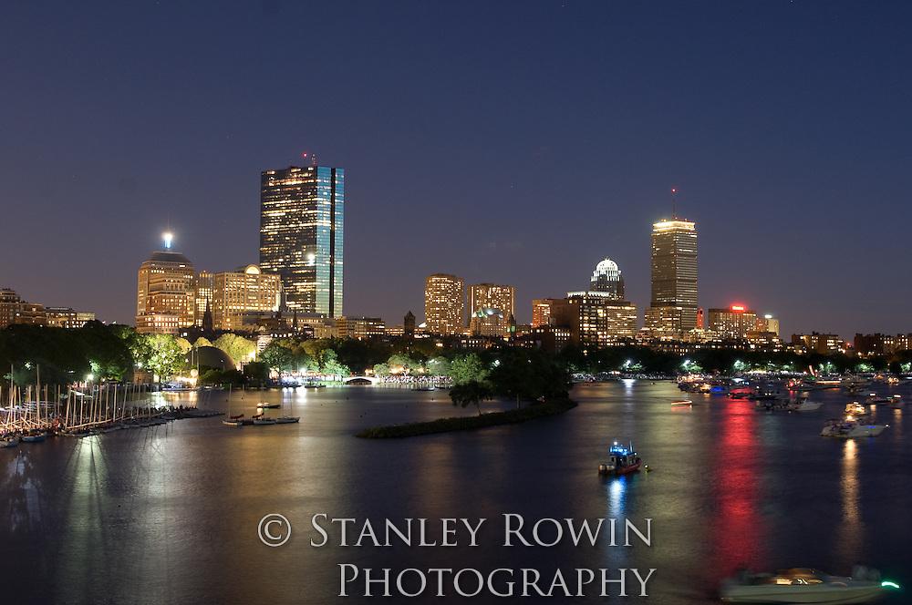 Night Back Bay Charles River Panorama