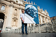 A patchworks's portrait of Pope Francis made with jeans, during Pope Francis weekly general audience in St Peter's square at the Vatican on April 25, 2018.