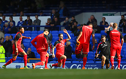 Danny Ings of Liverpool warms up with his team mates - Mandatory byline: Matt McNulty/JMP - 07966 386802 - 04/10/2015 - FOOTBALL - Goodison Park - Liverpool, England - Everton  v Liverpool - Barclays Premier League