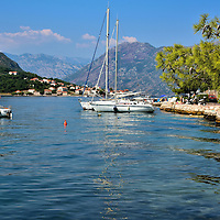 Anchored Sailboats in Dobrota, Montenegro<br />