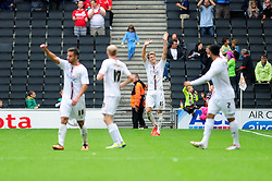 Milton Keynes Dons' Patrick Bamford celebrates his goal.  - Photo mandatory by-line: Dougie Allward/JMP - Tel: Mobile: 07966 386802 24/08/2013 - SPORT - FOOTBALL - Stadium MK - Milton Keynes -  Milton Keynes Dons V Bristol City - Sky Bet League One