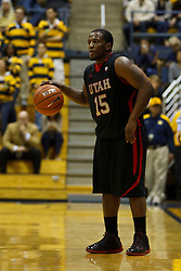 Jan 14, 2012; Berkeley CA, USA;  Utah Utes guard Josh Watkins (15) dribbles the ball against the California Golden Bears during the first half at Haas Pavilion. California defeated Utah 81-45. Mandatory Credit: Jason O. Watson-US PRESSWIRE