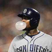 Justin Upton, San Diego Padres, blows a bubble gum bubble after striking out while batting during the New York Mets Vs San Diego Padres MLB regular season baseball game at Citi Field, Queens, New York. USA. 29th July 2015. Photo Tim Clayton