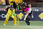 Sophie Devine defends. Women's T20 international Cricket , Australia v New Zealand White Ferns. North Sydney Oval, Sydney, NSW, Australia. 29 September 2018. Copyright Image: David Neilson / www.photosport.nz