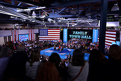 Democratic presidential nominee Hillary Clinton, joined by daughter Chelsea Clinton, hold a Family Town Hall meeting in on October 4, 2016 in Haverford, Pennsylvania.