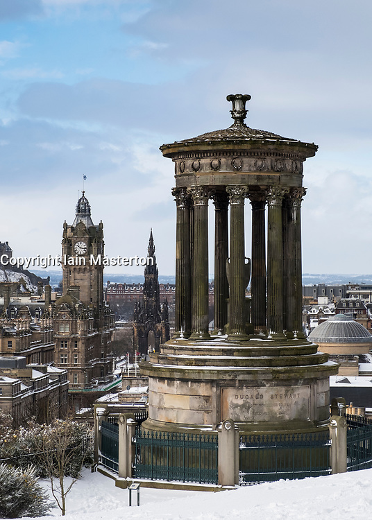 View from Calton Hill over city of Edinburgh after heavy snow falls , Scotland, United Kingdom