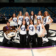 The Lady Bighorn Dancers and Bruno the Bighorn after the NBA G-League Basketball game between the Reno Bighorns and the Raptors 905 at the Reno Events Center in Reno, Nevada.