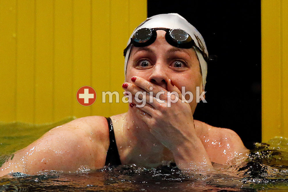 LIMM's Danielle VILLARS of Switzerland reacts after winning in the women's 200m Butterfly Final during the Swiss Swimming Championships at the Hallenbad Oerlikon in Zuerich, Switzerland, Friday, March 28, 2014. (Photo by Patrick B. Kraemer / MAGICPBK)