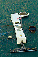 Aerial view of the USS Arizona Memorial, Pearl Harbor, Honolulu, Oahu, Hawaii, USA