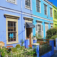 Colorful Houses in Cerro Concepción Neighborhood in Valparaíso, Chile <br />