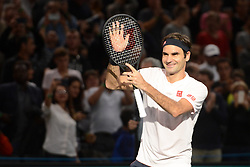 November 1, 2018 - Paris, France - ROGER FEDERER of Switzerland after winning his third round match in the Rolex Paris Masters tennis tournament in Paris France. (Credit Image: © Christopher Levy/ZUMA Wire)