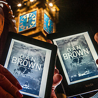 FREE FIRST EDITORIAL USE ONLY.Kindle users receive their pre-ordered copy of the new Dan Brown novel Inferno on their Kindle Paperwhite devices as the clock on Glasgow's Tolbooth Steeple strikes midnight, ahead of the book's release in stores today.Lenny Warren / Warren Media.07860 830050  01355 229700.lenny@warrenmedia.co.uk.www.warrenmedia.co.uk..All images © Warren Media 2013. Free first use only for editorial in connection with the commissioning client's  press-released story. All other rights are reserved. Use in any other context is expressly prohibited without prior permission.