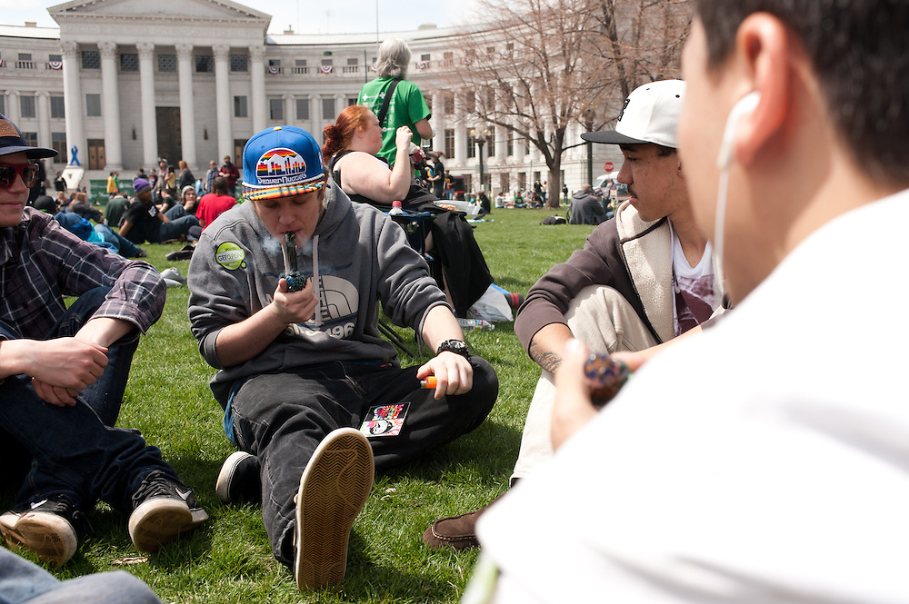 Smokers at the 4/20 rally event in Denver, Colorado.