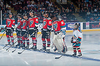 KELOWNA, CANADA - NOVEMBER 26: The Pepsi Save On Foods Player of the game and Calvin Thurkauf #27, Rodney Southam #17, Nick Merkley #10, Cal Foote #25, Michael Herringer #30 and Devante Stephens #21 of the Kelowna Rockets line up against the Regina Pats on November 26, 2016 at Prospera Place in Kelowna, British Columbia, Canada.  (Photo by Marissa Baecker/Shoot the Breeze)  *** Local Caption ***