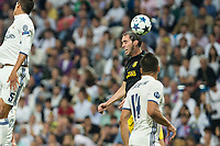 Diego Godin of Atletico de Madrid battles for an aerial ball  during the match of Champions League between Real Madrid and Atletico de Madrid at Santiago Bernabeu Stadium  in Madrid, Spain. May 02, 2017. (ALTERPHOTOS/Rodrigo Jimenez)