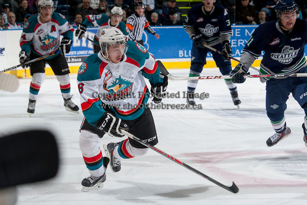KELOWNA, CANADA - APRIL 3: Colten Martin #8 of the Kelowna Rockets skates against the Seattle Thunderbirds on April 3, 2014 during Game 1 of the second round of WHL Playoffs at Prospera Place in Kelowna, British Columbia, Canada.   (Photo by Marissa Baecker/Getty Images)  *** Local Caption *** Colten Martin;