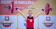 Anna Lesniewska from Poland competes during Women's Weightlifting Polish Cup 2014 in Jozefow near Warsaw on March 30, 2014.<br /> Marzena Karpinska won the first Women's Weightlifting Polish Cup.<br /> <br /> Poland, Jozefow, March 30, 2014<br /> <br /> Picture also available in RAW (NEF) or TIFF format on special request.<br /> <br /> For editorial use only. Any commercial or promotional use requires permission.<br /> <br /> Mandatory credit:<br /> Photo by © Adam Nurkiewicz / Mediasport