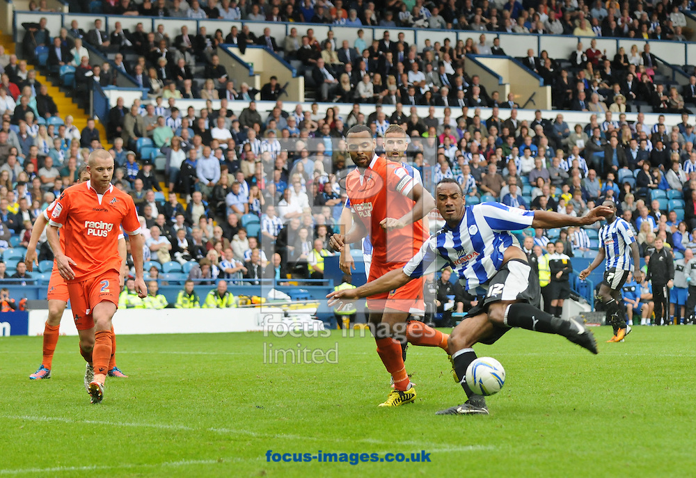 Picture by Richard Land/Focus Images Ltd +44 7713 507003.25/08/2012.Chris O'Grady of Sheffield Wednesday shoots during the npower Championship match at Hillsborough, Sheffield.