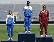 Hampton Lady Pirate Kellie Wells (left) competes in the 2006 MEAC Track and Field Championships in Greensboro, North Carolina.  May 07, 2006  (Photo by Mark W. Sutton)