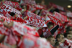 09.06.2011, Stadion Wojska, Warschau, POL, FSP, Poland vs France, im Bild Polnische Fans mit Schals, EXPA Pictures © 2011, PhotoCredit: EXPA/ Newspix/ CYFRASPORT/ MATEUSZ TRZUSKOWSKI +++++ ATTENTION - FOR AUSTRIA/ AUT, SLOVENIA/ SLO, SERBIA/ SRB an CROATIA/ CRO, SWISS/ SUI and SWEDEN/ SWE CLIENT ONLY +++++
