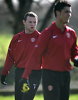 Photo: Paul Thomas.<br />Manchester United training session. UEFA Champions League. 06/03/2007.<br />Man Utd's Wayne Rooney (L) and Cristiano Ronaldo during training.